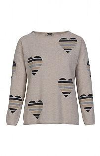 Ladies Cashmere All Over Heart Jumper