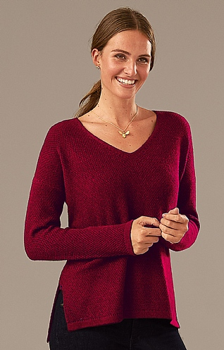 Birdseye Open V Neck
