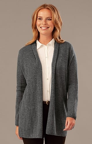 Silk & Cashmere Ribbed Suit Cardigan