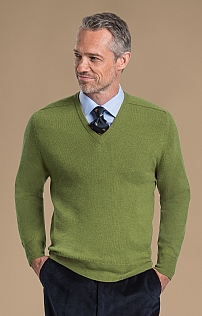 Mens 2ply Lambswool V Neck