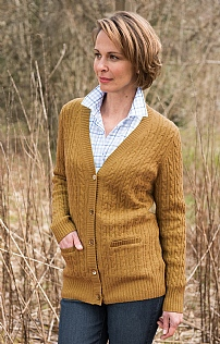 Ladies Country Lambswool Cable Boyfriend Cardigan