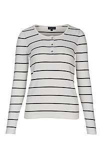 Cotton Placket Striped Crew