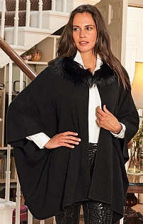 Fox Fur Cashmere Hooded Cape