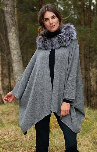 Fox Fur & Cashmere Hooded Cape