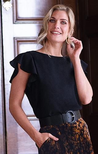 House of Bruar Ladies Frill T-Shirt - Black