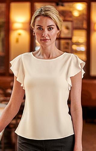 House of Bruar Ladies Frill T-Shirt - Cream