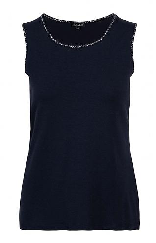 House Of Bruar Ladies Basic Sleeveless T-Shirt - Navy Blue