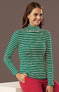 Breton Striped Cotton Roll Neck