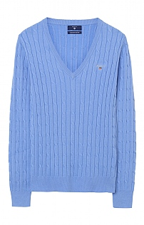 Gant Stretch Cotton Cable V-Neck