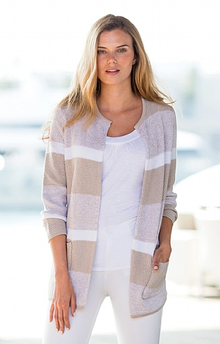 Marble Stripe Edge To Edge Cardigan